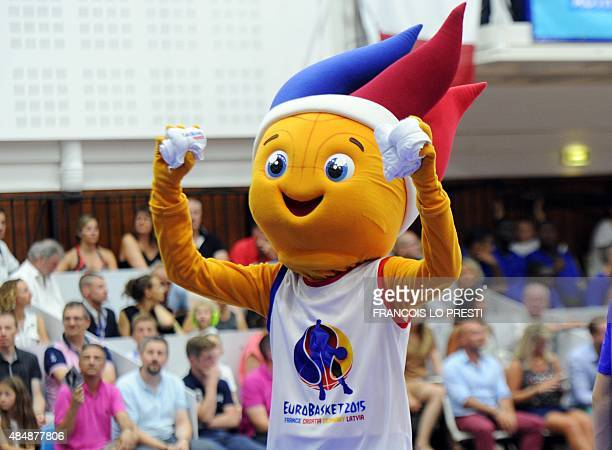 The mascot for the French team gestures during a friendly match between France and Belgium at the Pierre Ratte Sports Arena in Saint Quentin on...