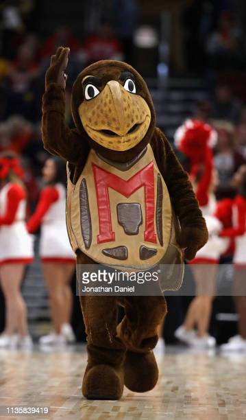 The mascot for the Maryland Terrapins performs during a break between the Terrapins and the Nebraska Cornhuskers at the United Center on March 14...