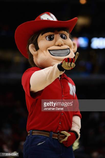 The mascot for the Nebraska Cornhuskers performs during a break between the Cornhuskers and the Maryland Terrapins at the United Center on March 14...