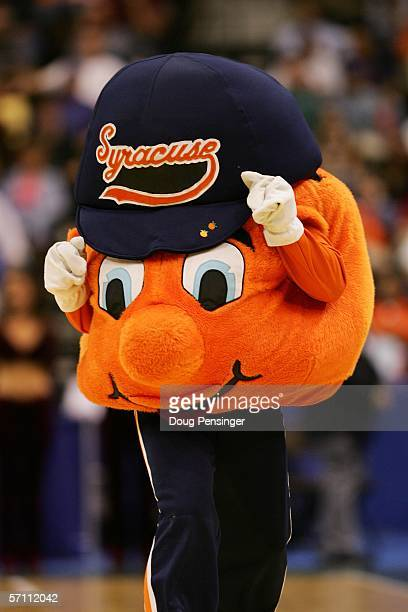 The mascot for the Syracuse Orange performs during their game against the Texas AM Aggies in round one of the NCAA National Championship on March 16...