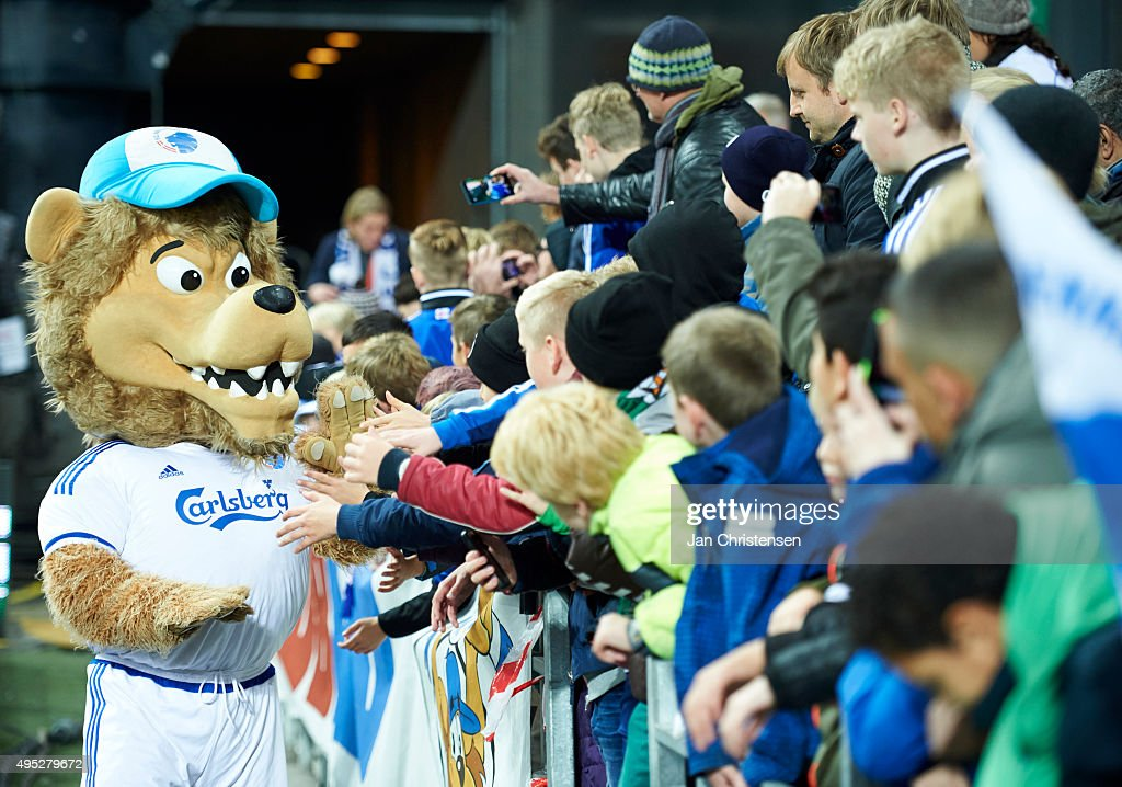 The mascot Leo of FC Copenhagen celebrate with fans after the Danish Alka Superliga match between FC Copenhagen and Randers FC at Telia Parken Stadium on November 01, 2015 in Copenhagen, Denmark.