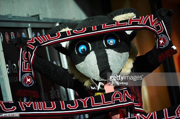 The mascot Lupus the Wolf cheer with a scarf prior to the Danish Alka Superliga match between FC Midtjylland and FC Copenhagen at MCH Arena on...