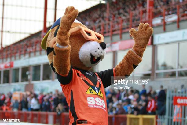 JT the mascot of Castleford Tigers during the Roger Millward Trophy match between Hull KR and Castleford Tigers as part of the Betfred Super League...
