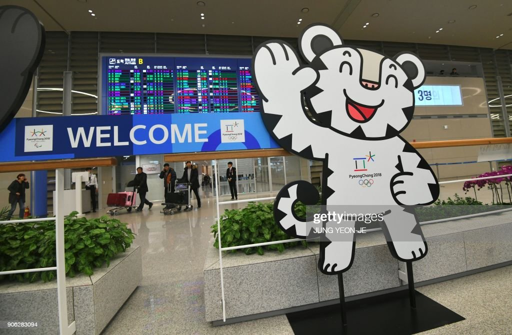 The mascot of the 2018 PyeongChang Winter Olympics is set at the arrival gate of Terminal 2 of Incheon International Airport, west of Seoul, on January 18, 2018. Incheon airport, South Korea's top gateway, on January 18 opened its second terminal, three weeks before the opening of the Pyeongchang Olympics, airport authorities said. Terminal 2 houses four airlines -- South Korea's flag carrier Korean Air, Air France, Delta, and KLM Royal Dutch Airlines.