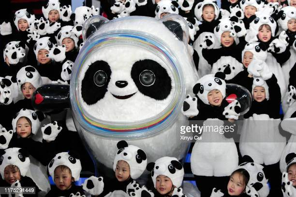 The Mascot of the 2022 Olympic Winter Games, Bing Dwen Dwen, is seen unveiled during a launching ceremony at Shougang Ice Hockey Arena on September...