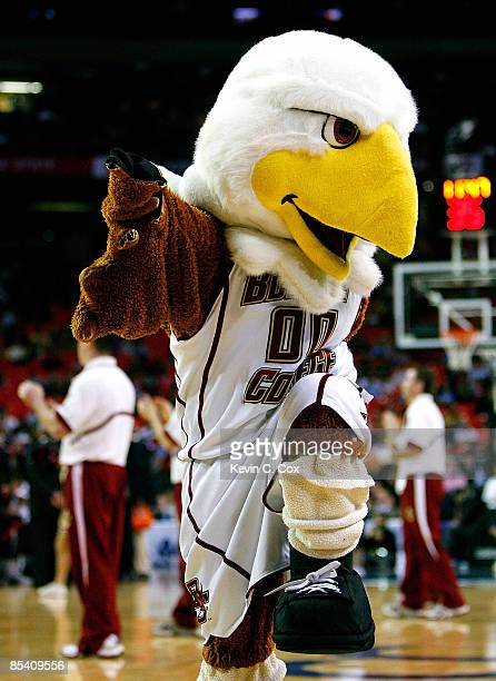 The mascot of the Boston College Eagles performs during day one against the Virginia Cavaliers in the 2009 ACC Men's Basketball Tournament at the...