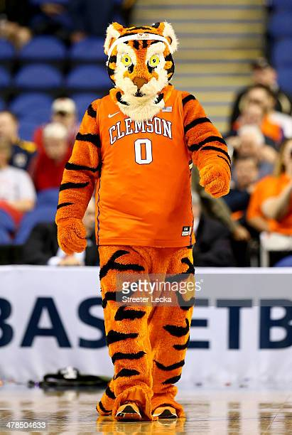 The mascot of the Clemson Tigers during the second round of the 2014 Men's ACC Basketball Tournament at Greensboro Coliseum on March 13 2014 in...