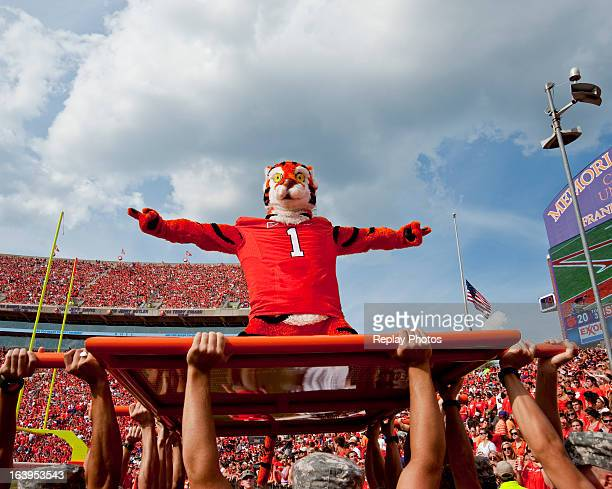 The mascot of the Clemson Tigers performs during a game against the Furman Paladins at Memorial Stadium on September 15 2012 in Clemson South...