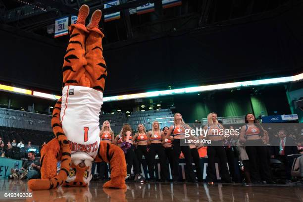 The mascot of the Clemson Tigers performs during their game against the North Carolina State Wolfpack during the first round of the ACC Basketball...