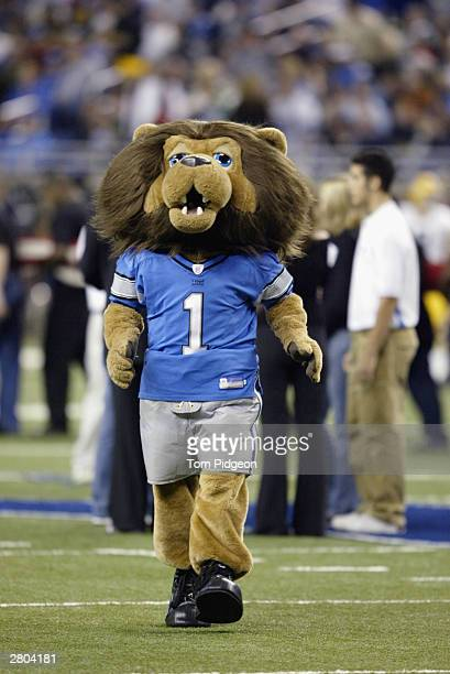 The mascot of the Detroit Lions perfoms on the field as the Lions take on the Green Bay Packers on November 27 2003 at Ford Field in Detroit Michigan...