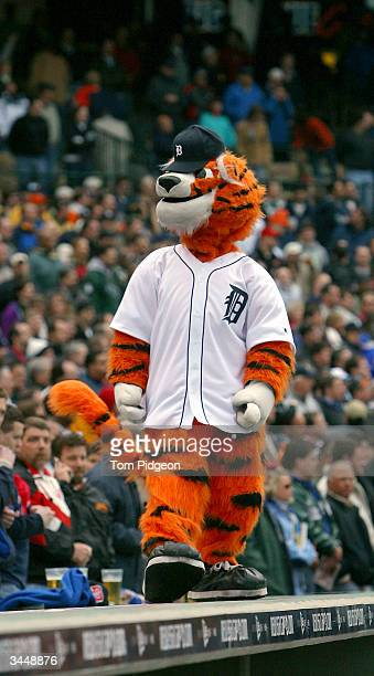 The mascot of the Detroit Tigers looks on during the game against the Minnesota Twins on opening day at Comerica Park on April 8 2004 in Detroit...