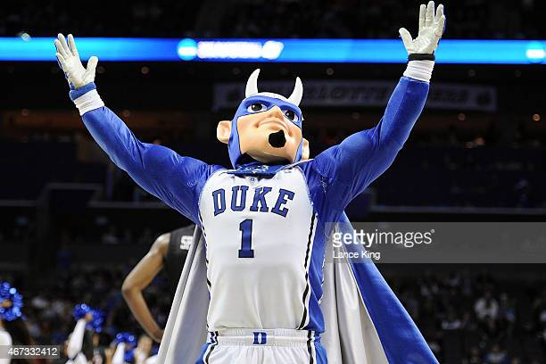 The mascot of the Duke Blue Devils performs against the San Diego State Aztecs during the third round of the 2015 NCAA Men's Basketball Tournament at...