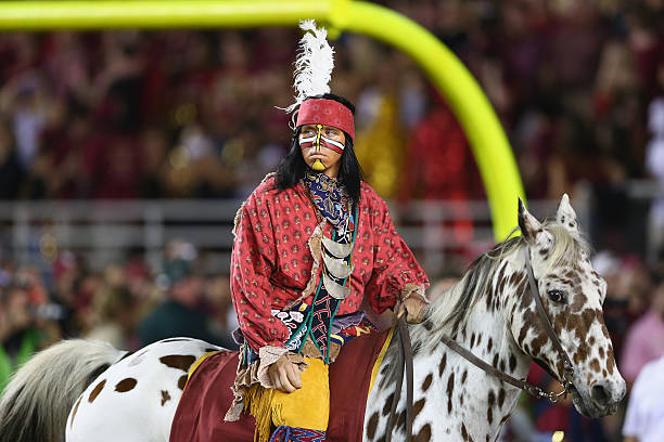 The mascot of the Florida State Seminoles during their game at Doak Campbell Stadium on October 18, 2014 in Tallahassee, Florida.