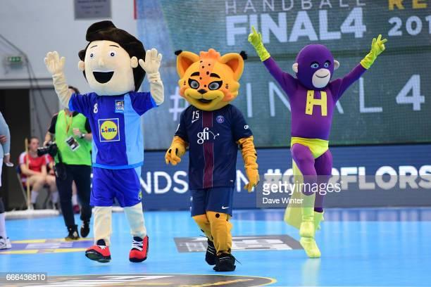 The mascot of the French Handball Federation Germain the mascot of PSG and Super H the mascot of Nantes during the Handball Final4 final match...