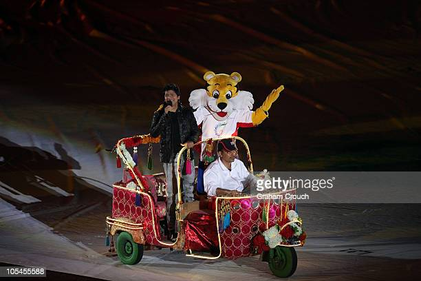 The mascot of the games 'Shera' is farewelled with singer Shaan in the arena for the Closing Ceremony for the Delhi 2010 Commonwealth Games at...