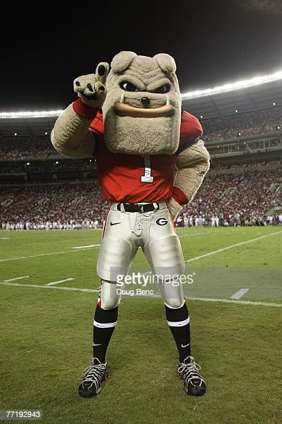 The mascot of the Georgia Bulldogs on the field during the game against the Alabama Crimson Tide at BryantDenny Stadium September 22 2007 in...