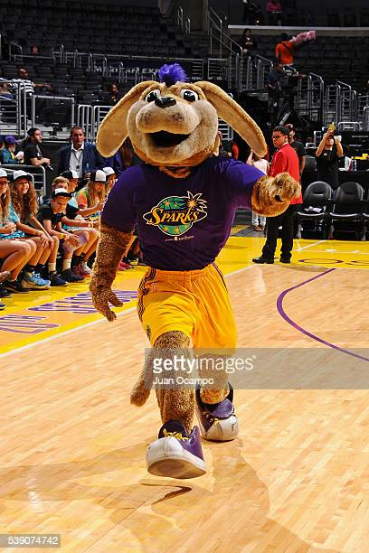 The mascot of the Los Angeles Sparks entertains the fans before the game against the New York Liberty on June 7 2016 at Staples Center in Los Angeles...