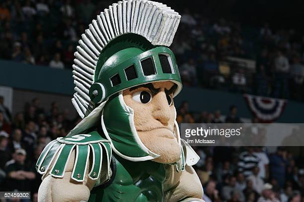 The Mascot of the Michigan State Spartans performs during a game against the Vermont Catamounts during the second round of the NCAA Men's Basketball...