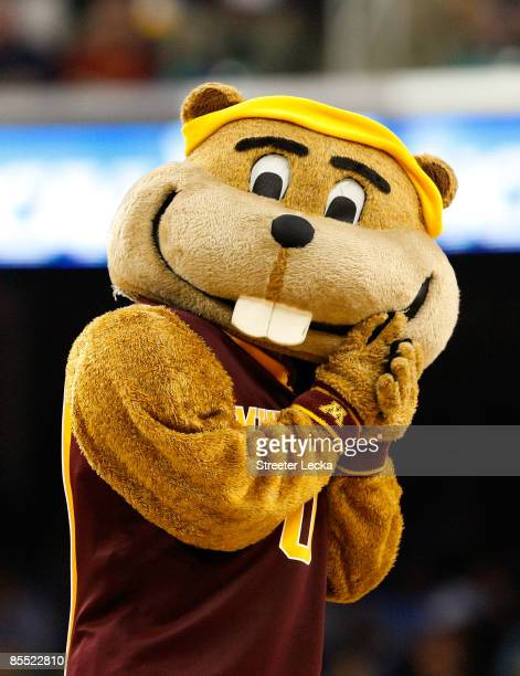 The mascot of the Minnesota Golden Gophers cheers on his team against the Texas Longhorns during the first round of the NCAA Division I Men's...