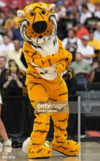 The mascot of the Missouri Tigers performs during the game against the Connecticut Huskies in the Elite Eight of the NCAA Division I Men's Basketball...