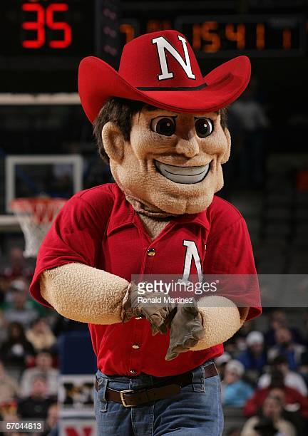 The mascot of the Nebraska Cornhuskers entertains fans during a break in game action against the Missouri Tigers in the first round of the Phillips...
