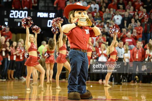 The mascot of the Nebraska Cornhuskers performs before the game against the Penn State Nittany Lions at Pinnacle Bank Arena on January 10, 2019 in...