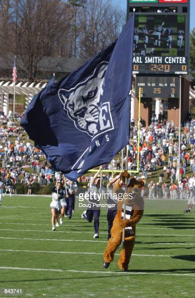 The Mascot of the Penn State Nittany Lions waves a school banner before the NCAA football game against the Virginia Cavaliers on December 1 2001 at...