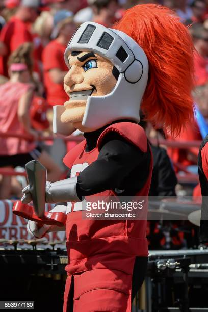 The mascot of the Rutgers Scarlet Knights performs during the game against the Nebraska Cornhuskers at Memorial Stadium on September 23 2017 in...