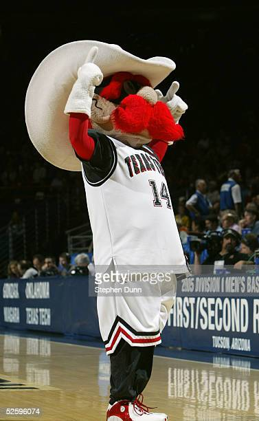The mascot of the Texas Tech University Red Raiders performs during an intermission in the game against the Gonzaga University Bulldogs during the...