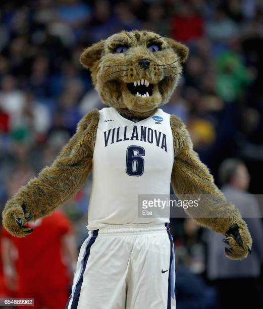 The mascot of the Villanova Wildcats in action against the Wisconsin Badgers during the second round of the 2017 NCAA Men's Basketball Tournament at...