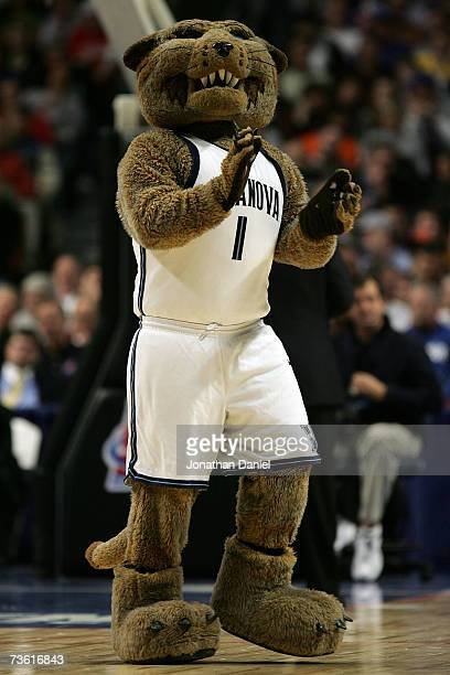 The mascot of the Villanova Wildcats performs against the Kentucky Wildcats during the first round of the NCAA Men's Basketball Tournament at the...