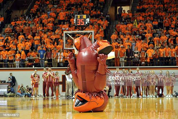 The mascot of the Virginia Tech Hokies performs during a stop in play against the Duke Blue Devils at Cassell Coliseum on February 21 2013 in...