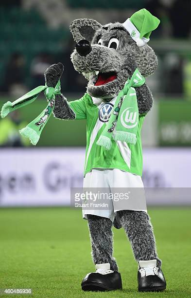 the mascot of Wolfsburg celebrates after the Bundesliga match between VfL Wolfsburg and SC Paderborn 07 at Volkswagen Arena on December 14 2014 in...
