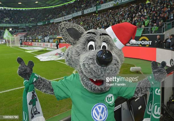 The mascot of Wolfsburg is in festive mood during the Bundesliga match between VfL Wolfsburg and Eintracht Frankfurt at Volkswagen Arena on December...