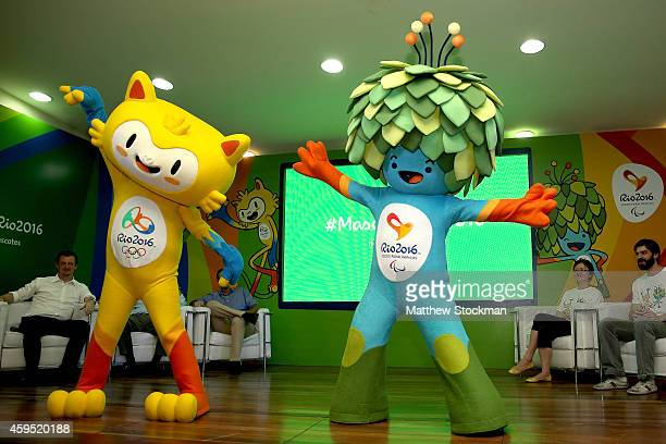 The mascots for the Rio Olympic and Paralympic Games are unveiled to the media during a press conference at Ginásio Experimental Olímpico Juan...