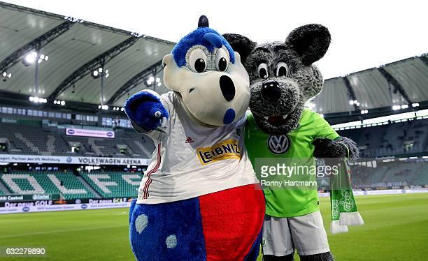 The mascots of Hamburg and Wolfsburg prior to the Bundesliga match between VfL Wolfsburg and Hamburger SV at Volkswagen Arena on January 21 2017 in...