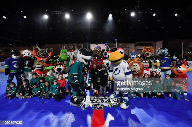 The mascots pose for a photo during the NHL Mascot Showdown at San Jose McEnery Convention Center on January 27 2019 in San Jose California