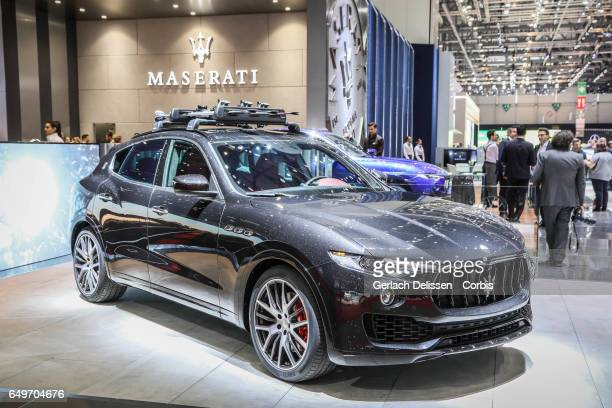 The Maserati Levante on display during the second press day of the Geneva Motor Show 2017 at the Geneva Palexpo on March 8 2017 in Geneva Switzerland