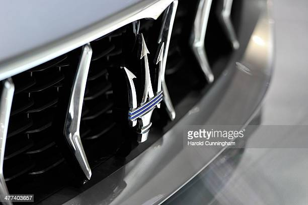 The Maserati logo is seen during the press day of the 84th International Motor Show which will showcase novelties of the car industry on March 5 2014...