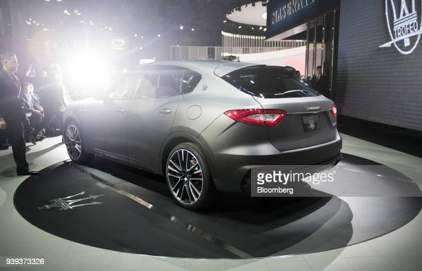The Maserati SpA Levante Trofeo vehicle is displayed during the 2018 New York International Auto Show in New York US on Wednesday March 28 2018 The...