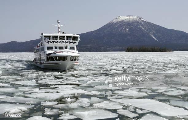 The Mashu Maru excursion boat breaks the ice on Lake Akan in Kushiro on Japan's northernmost main island of Hokkaido on April 17 2019 ==Kyodo