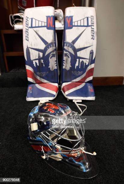 The mask and leg pads of goaltender Henrik Lundqvist of the New York Rangers sits in the locker room prior to the 2018 Bridgestone NHL Winter Classic...