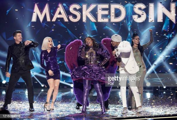 LR Robin Thicke Jenny McCarthy Kandi Burruss Nick Cannon and Nicole Scherzinger in the Couldnt Mask For Anything More The Grand Finale season finale...