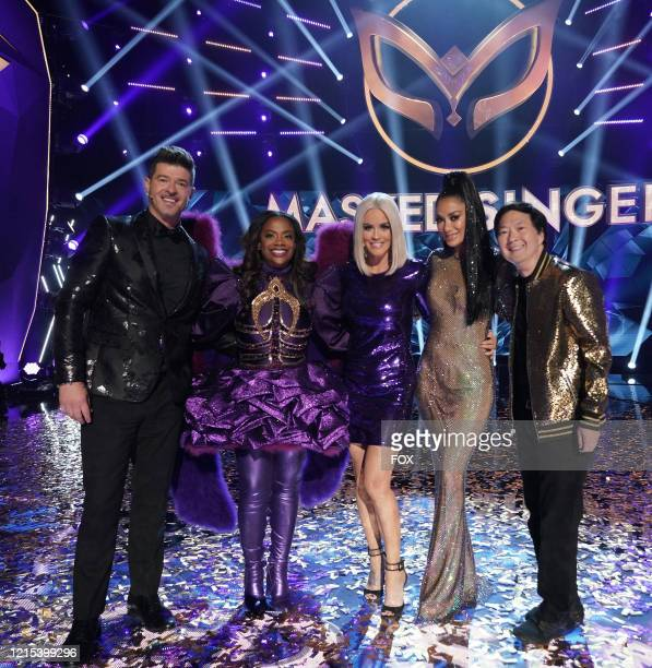 LR Robin Thicke Kandi Burruss Jenny McCarthy Nicole Scherzinger and Ken Jeong in the Couldnt Mask For Anything More The Grand Finale season finale...