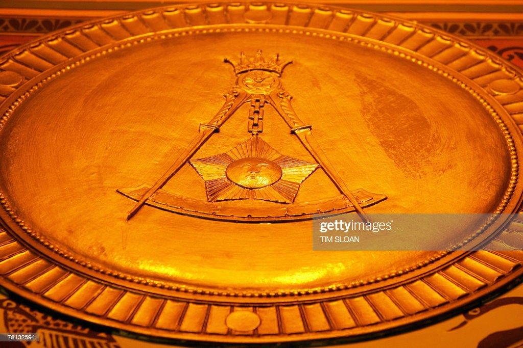 The Masonic square and compasses symbol : News Photo