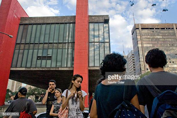 The MASP building and museum on the busy Avenidia Paulista Sao Paulo Brazil