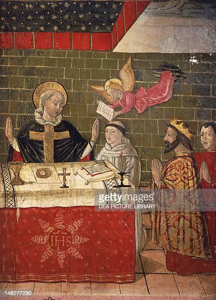 The Mass celebrated by St Eligius in the presence of King Dagobert I, detail from the Stories of the life of St Eligius, 15th century. ; Orte, Museo...
