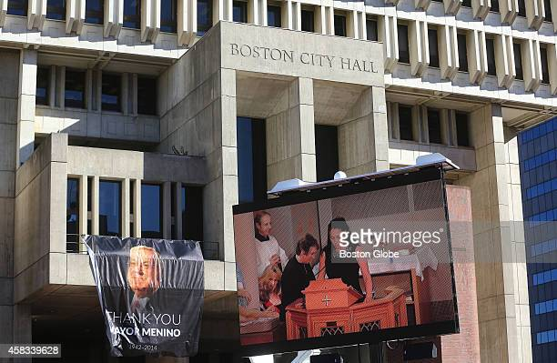 The Mass for the late Boston mayor Thomas M Menino is shown on a large screen outside Boston City Hall on November 3 2014