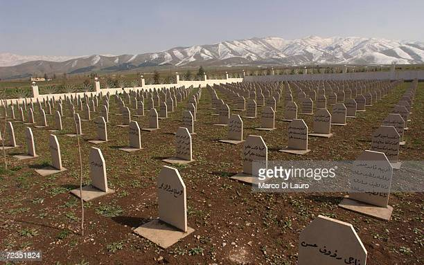 The mass grave site of most of the victims of the March 16, 1988 chemical attacks on Halabja is shown February 24, 2004 in Halabja, Iraq. In Halabja,...