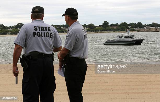 The Massachusetts State Police Underwater Recovery Unit and members of the state Environmental Police held a water safety event on Carson Beach in...